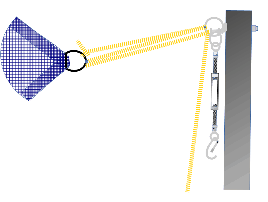 Advanced rope purchase for pulling sun shade corner to fixing