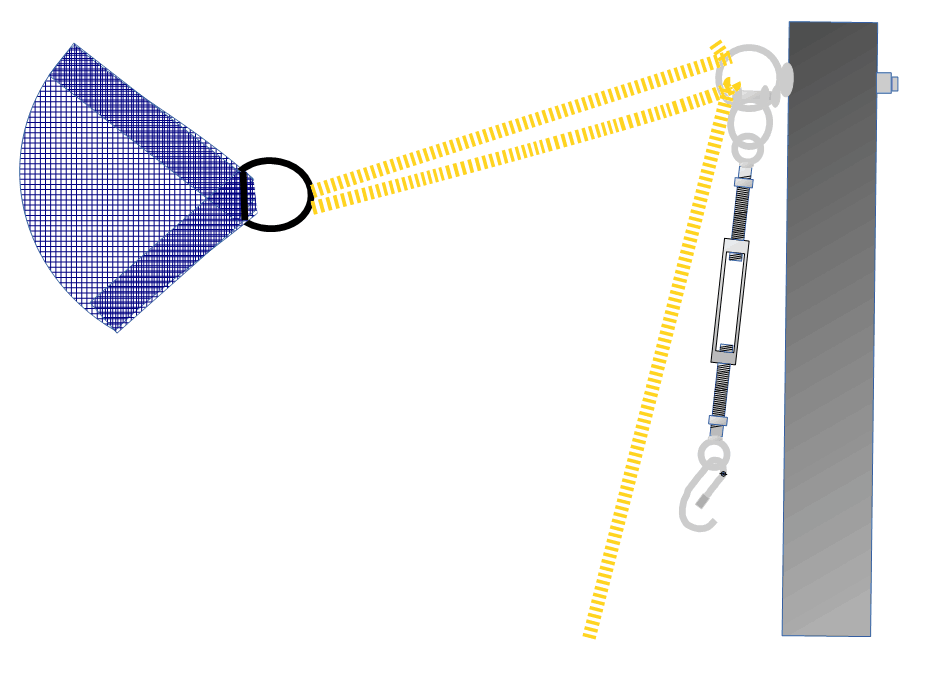 Basic rope purchase for pulling sun shade corner to fixing